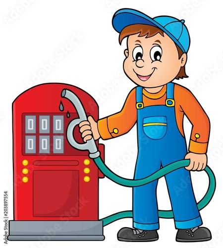 Staande foto Voor kinderen Gas station worker theme 1