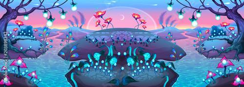 Poster Chambre d enfant Fantasy nocturnal landscape