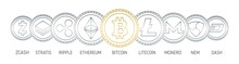 Banner With Cryptocurrency Coins Drawn With Contour Lines On White Background. Digital Currencies Logos - Bitcoin, Litecoin, Ethereum, Monero, Ripple, Nem, Stratis, Dash, Zcash. Vector Illustration.