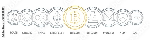 Fototapeta Banner with cryptocurrency coins drawn with contour lines on white background. Digital currencies logos - Bitcoin, Litecoin, Ethereum, Monero, Ripple, Nem, Stratis, Dash, Zcash. Vector illustration. obraz
