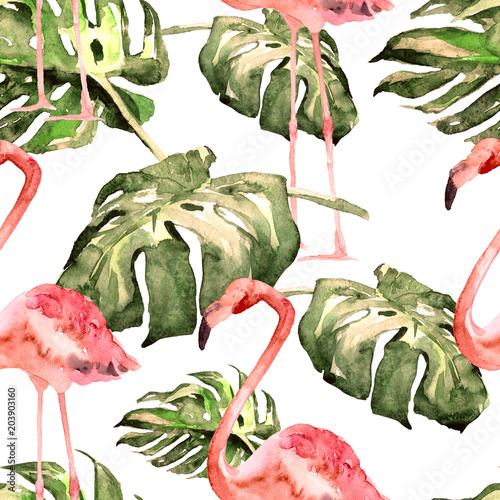 Cotton fabric Watercolor Seamless Pattern. Hand Painted Illustration of Tropical Leaves and Flowers. Tropic Summer Motif with Tropical Pattern.