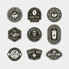 Set Of Modern Vintage Coffee Shop Labels. Vector Illustration