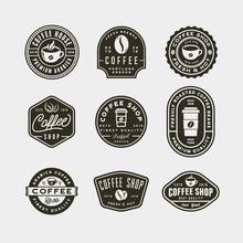 Set Of Modern Vintage Coffee Shop Labels. Vector Illustration