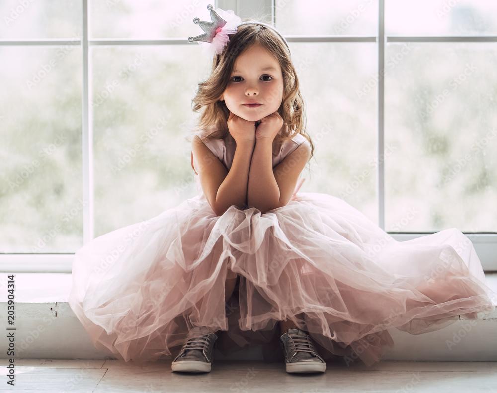 Fototapety, obrazy: Little cute girl in dress