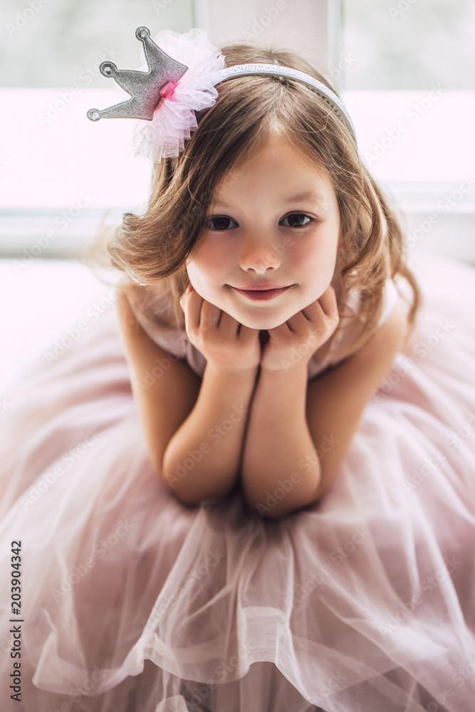 Fototapeta Little cute girl in dress