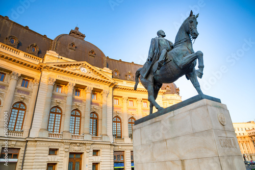 Equestrian statue of Carol I in front of the Royal Palace in Bucharest, Romania
