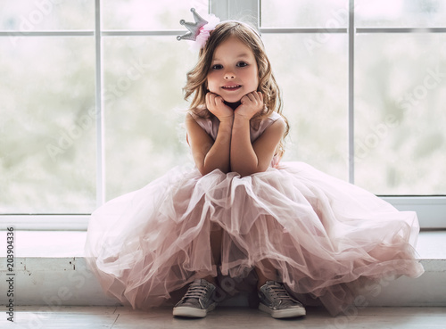 Little cute girl in dress Tablou Canvas