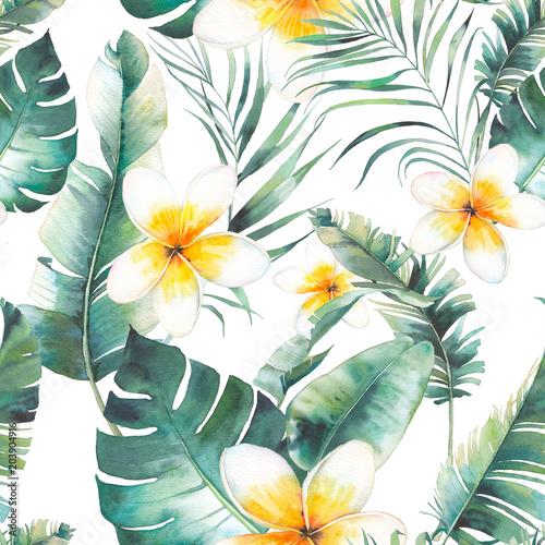 letnie-kwiaty-plumeria-palmy-i-banan-pozostawia-wzor-akwarela-kwiatowy-tekstury-z-bialymi-kwiatami