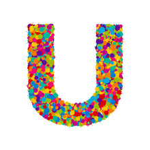 Vector Colorful Paint Splashes Font, Letter U