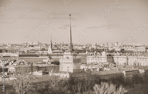 In de dag Asia land View on the Saint-Petersburg. Old retro photo.