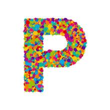 Vector Colorful Paint Splashes Font, Letter P