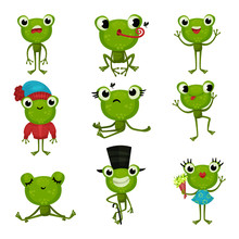 Set Of Green Frogs In Differen...