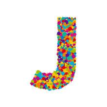 Vector Colorful Paint Splashes Font, Letter J