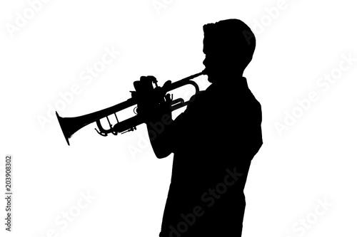 Foto Schatten eines Trompetenspielers