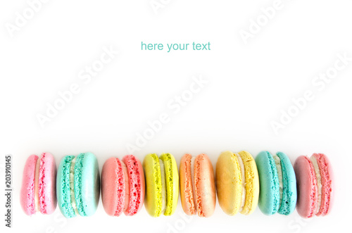 French macaron cookies on white background.Sweet dessert. Canvas Print