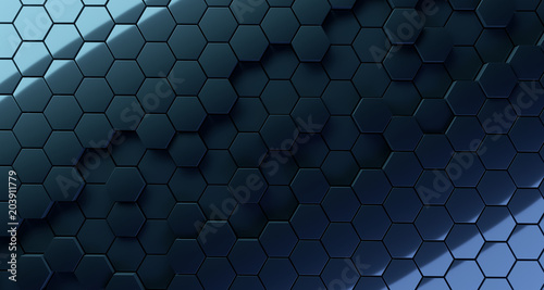 Fotobehang Volle maan Abstract Hexagon Background With Color Lights And Reflection. 3D Rendering