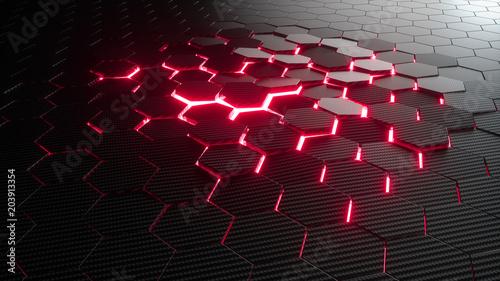 abstrakcjonistyczny-heksagonalny-geometryczny-tlo-struktura-wielu-szesciokatow-z-wlokna-weglowego-z-jasnym-swiatlem-swietlnym-przebijajacym-sie-przez-szczeliny-renderowania-3d