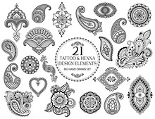 Big Set Of Mehndi Flower Pattern For Henna Drawing And Tattoo. Decoration In Ethnic Oriental, Indian Style.