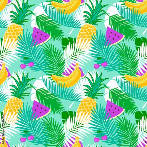 tropikalny-owoc-bezszwowy-wzor-z-dzungla-opuszcza-kwiecistego-pastelowego-koloru-tlo-plasterek-arbuza-wzor-ananasa-banana-i-wisni