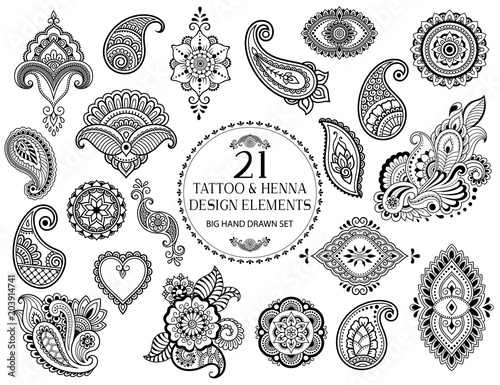 Fototapeta Big set of Mehndi flower pattern for Henna drawing and tattoo