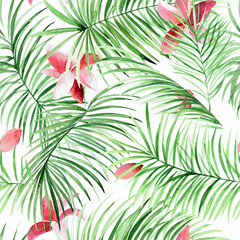 Naklejka Do sypialni Watercolor seamless pattern with palm leaves and tropical flowers.