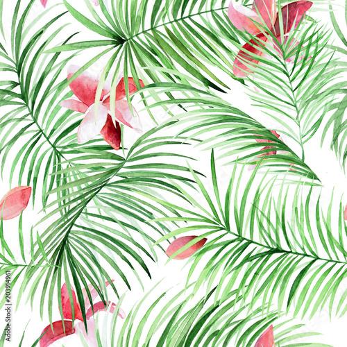akwarela-bezszwowe-wzor-z-lisci-palmowych-i-tropikalnych-kwiatow