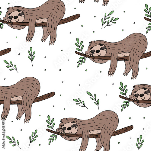 Valokuva  seamless pattern with cute doodle sloth print