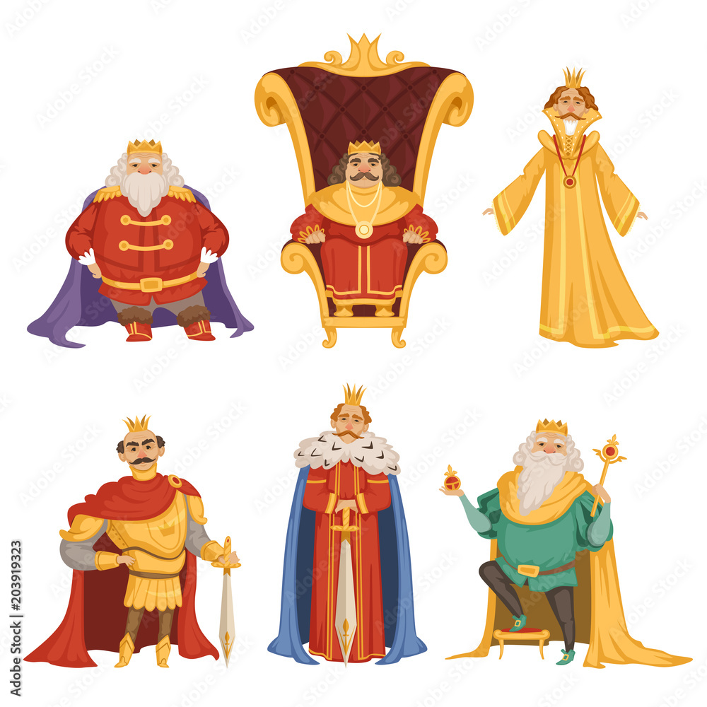 Fototapeta Set illustrations of king in cartoon style