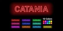 Neon Name Of Catania City