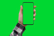 canvas print picture - Woman's hand shows smartphone with green screen in vertical position, green background.