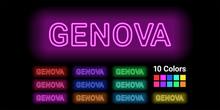 Neon Name Of Genova City