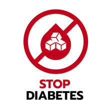 Stop Diabetes Sign With Red Dr...