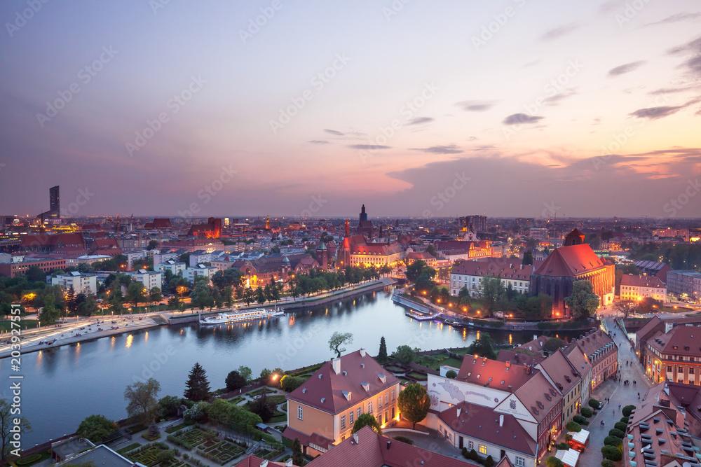 Fototapety, obrazy: Panorama Wrocławia o zmierzchu