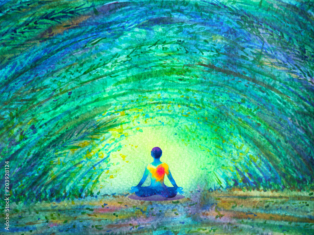 Fototapety, obrazy: chakra color human lotus pose yoga in green tree forest tunnel, abstract world, universe inside your mind mental, watercolor painting illustration design hand drawn