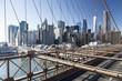New York, Lower Manhattan skyline from the Brooklyn Bridge