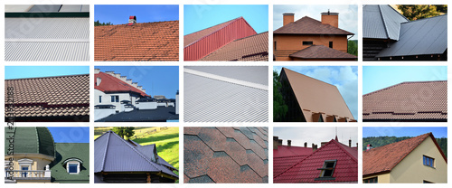 Fotografía  A collage of many pictures with fragments of various types of roofing