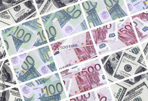 Fotografía  A collage of many images of euro banknotes in denominations of 100 and 500 euros