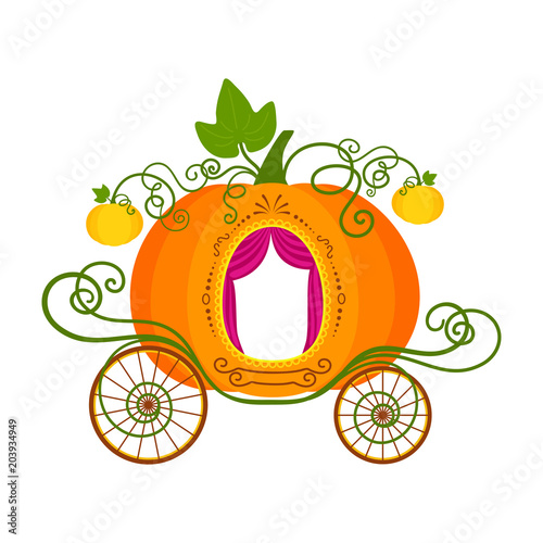 Foto Vector illustration of pumpkin carriage isolated on white background