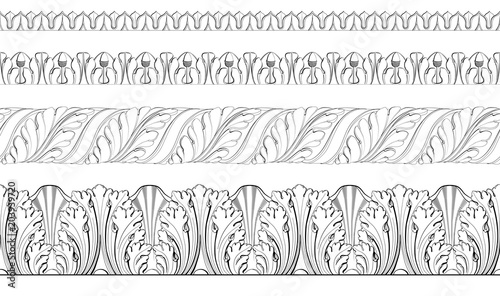Fotografie, Obraz  Set vector classic floral  border, moldings from plaster.
