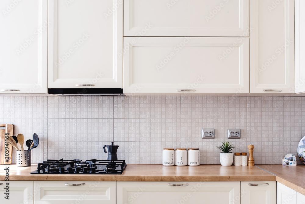 Fototapety, obrazy: Interior kitchen design details - modern cabinets and wooden furniture