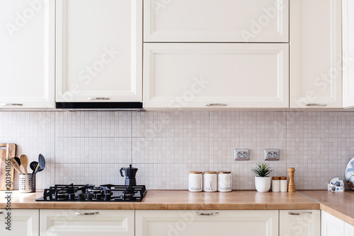 Fotografia, Obraz  Interior kitchen design details - modern cabinets and wooden furniture