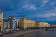 Outdoor panoramic view of Moscow with Moskva River in summer, modern skyscrapers of Moscow-City. Landscape and cityscape of Moscow