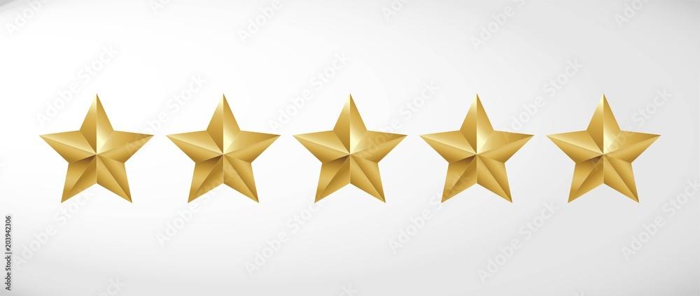 Fototapety, obrazy: Star rating realistic gold star set vector