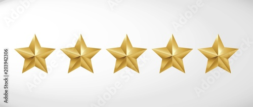 Obraz Star rating realistic gold star set vector - fototapety do salonu