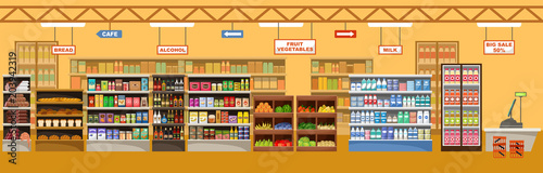 Supermarket interior with products. Big store #203942319