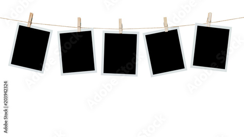 Obraz five photo frame blank hanging on isolated white with clipping path. - fototapety do salonu
