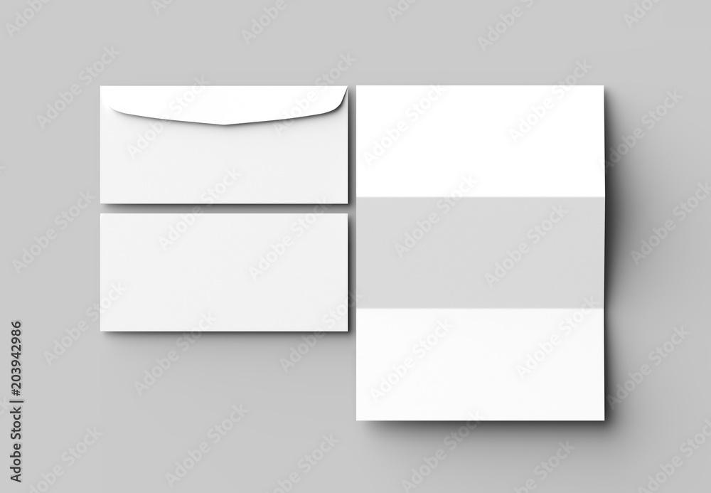 Fototapeta Envelope and letter mock up isolated on soft gray background. 3D illustrating.