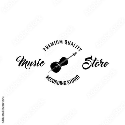 Violin Icon Music Storelabel Logo Emblem Musical Instrument Symbol