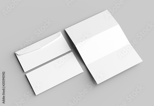 Fototapeta Envelope and letter mock up isolated on soft gray background. 3D illustrating. obraz