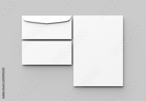 Fotomural Envelope and letter mock up isolated on soft gray background